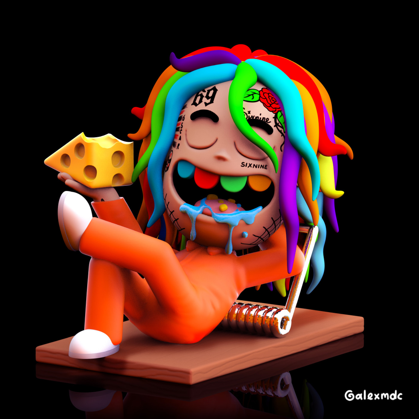 Tekashi 6ix9ine rat illustration by @alexmdc