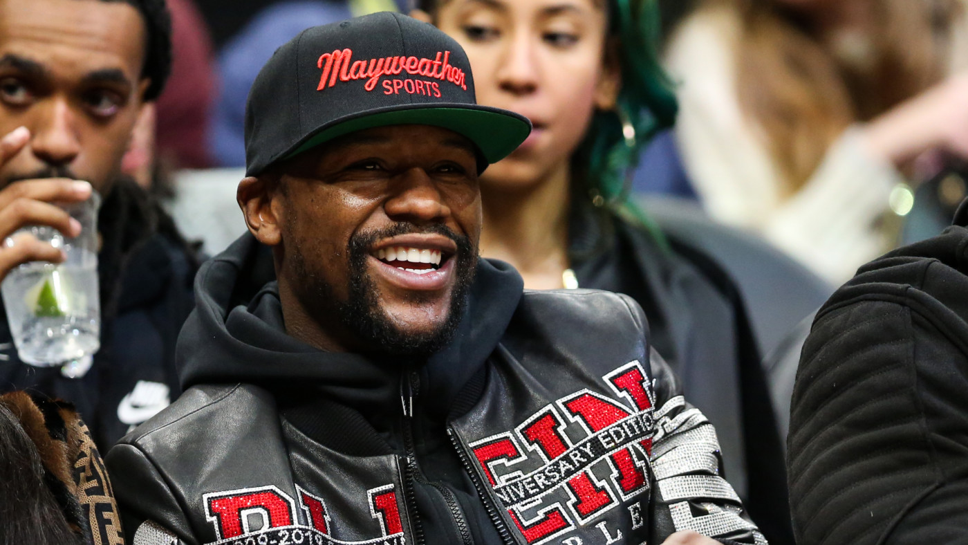 Floyd Mayweather is seen at a game between the Hawks and Bucks.