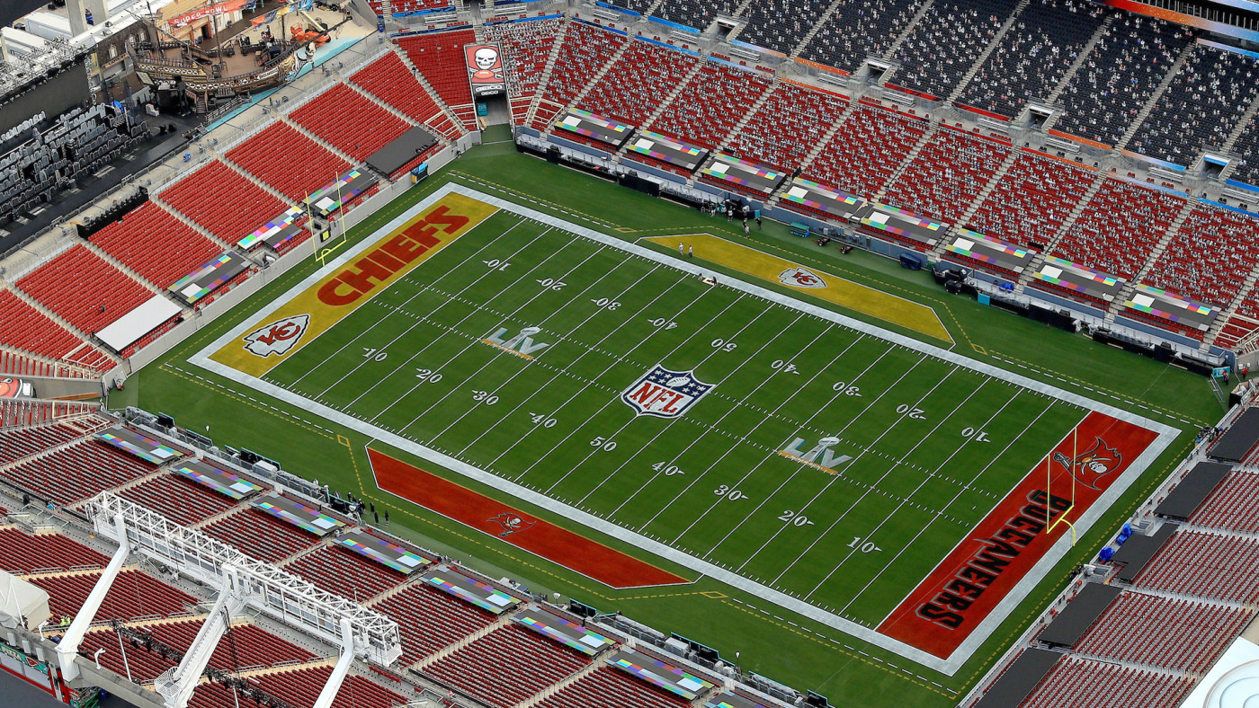 An aerial view of Raymond James Stadium ahead of Super Bowl LV
