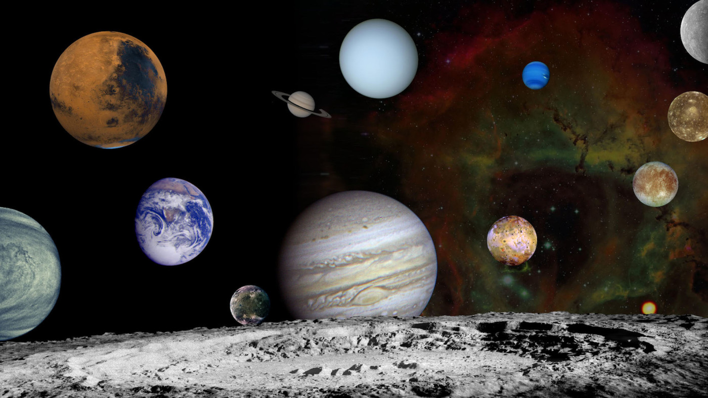 This montage of images taken by the Voyager spacecraft of the planets.