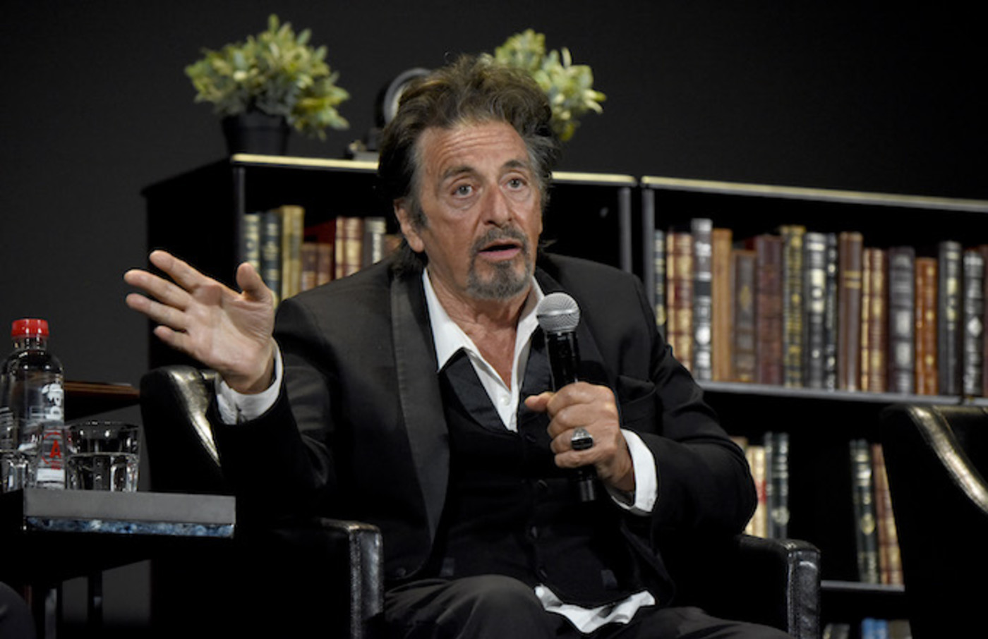 Al Pacino speaks onstage during the panel for 'The Godfather' 45th Anniversary Screening
