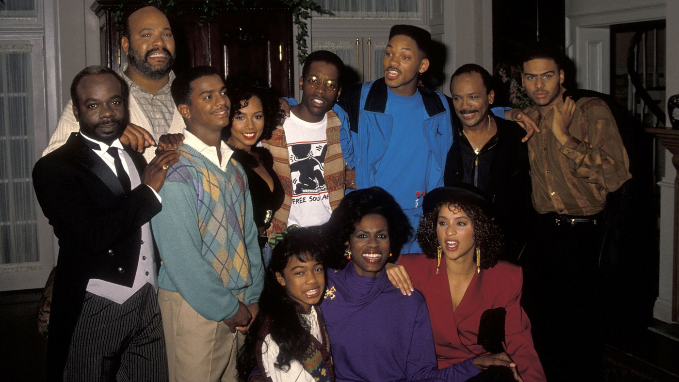 The 'Fresh Prince' cast takes a break from filming in 1990.