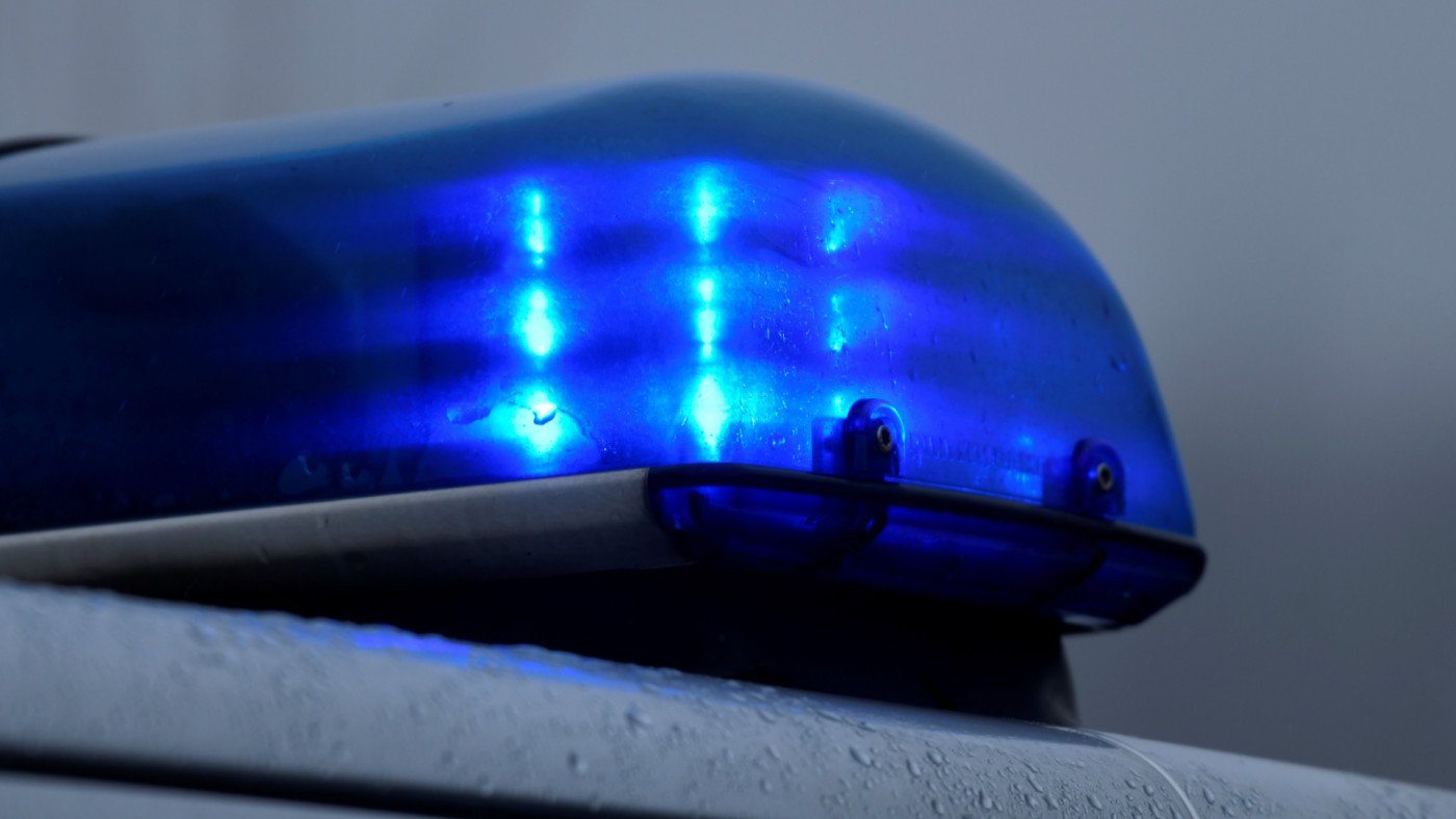 Flashing blue light of a police car in Datteln, western Germany.