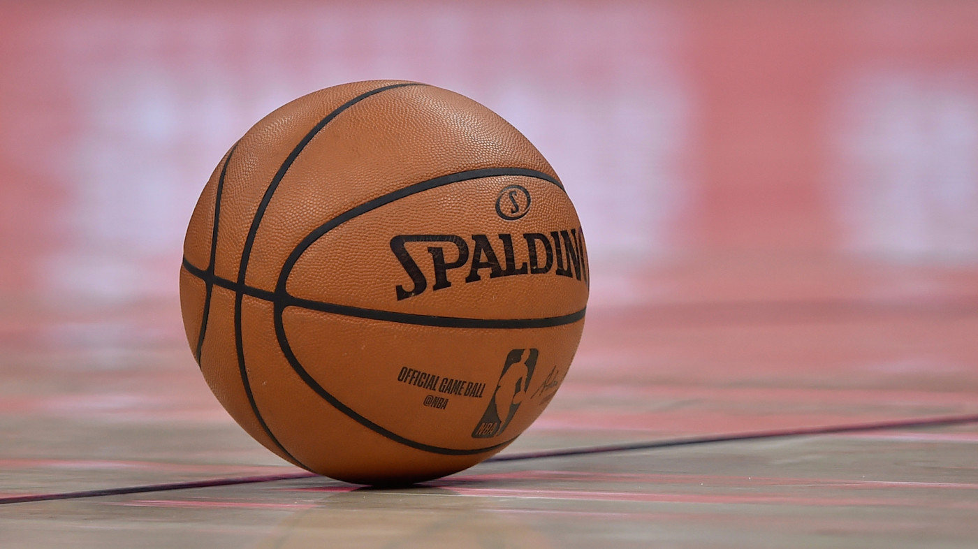 General view of the ball used in a NBA game between the Charlotte Hornets and the Utah Jazz