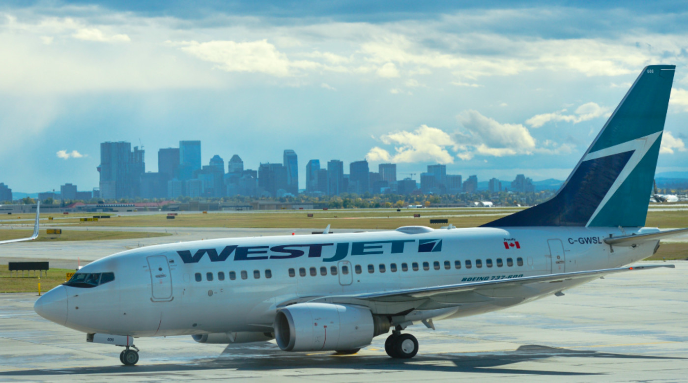 WestJet planes at Calgary International Airport