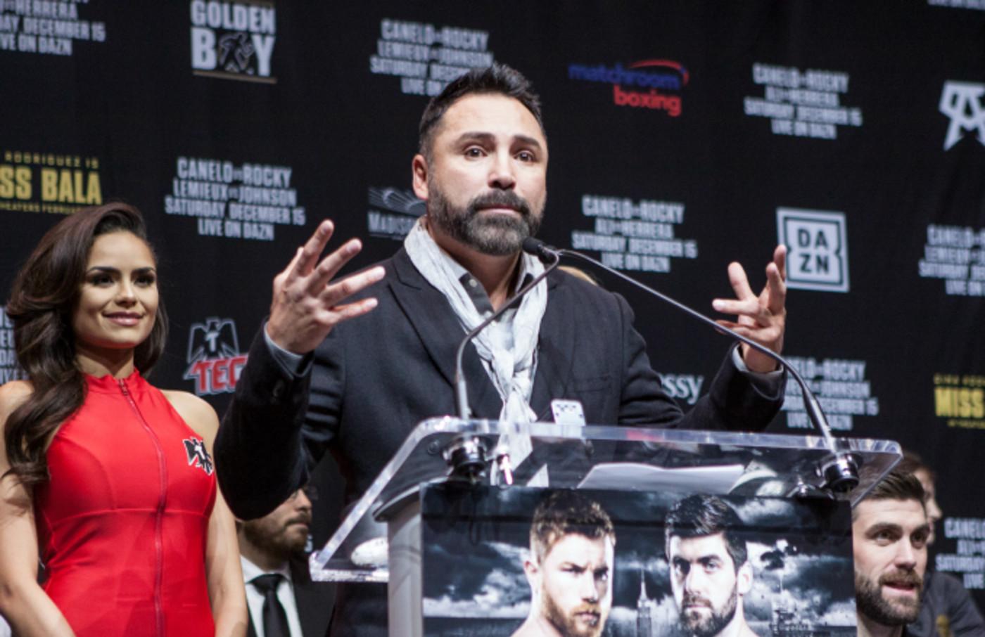 Oscar De La Hoya speaks during the Canelo vs. Rocky final press conference