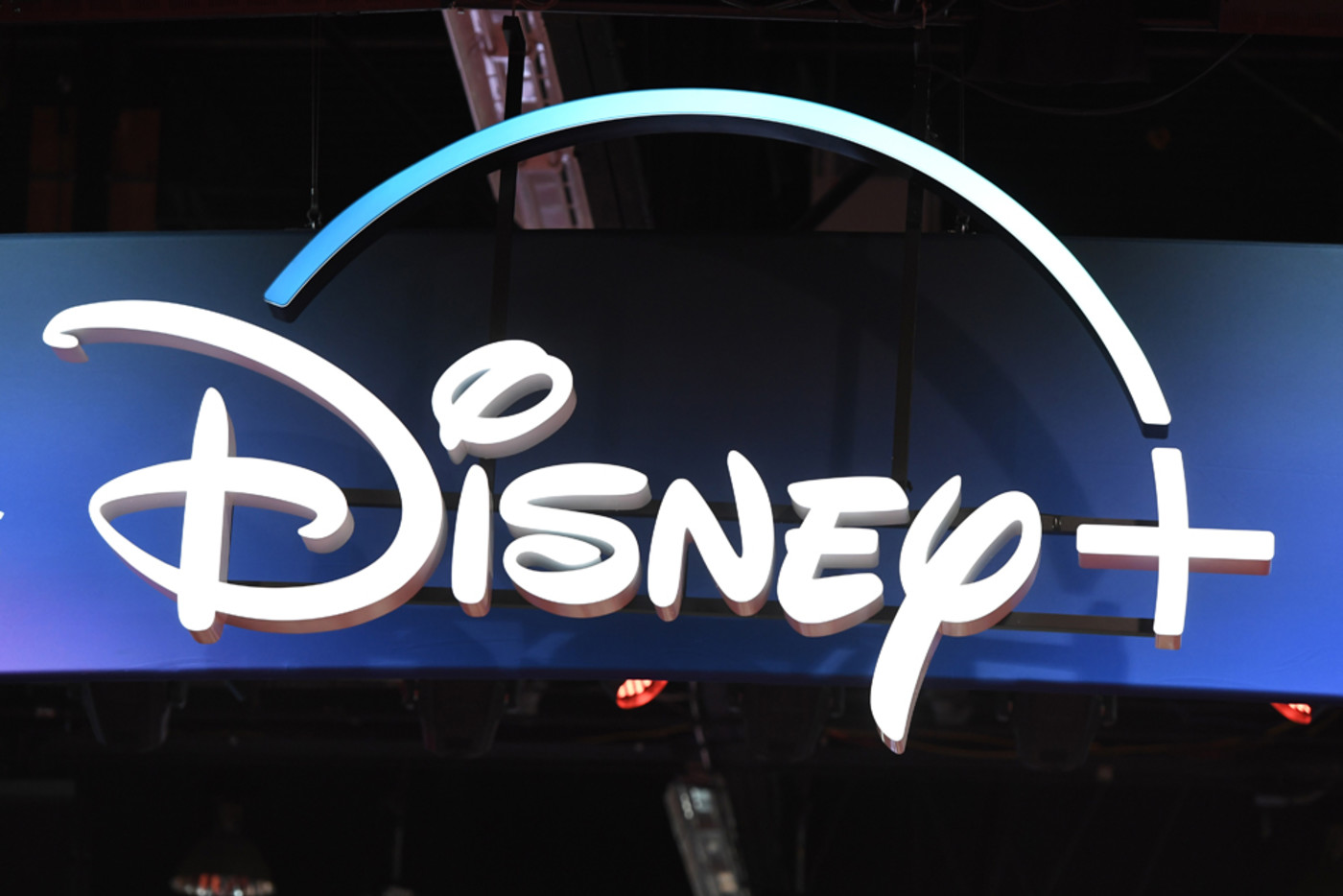 A Disney+ streaming service sign is pictured at the D23 Expo on August 23, 2019