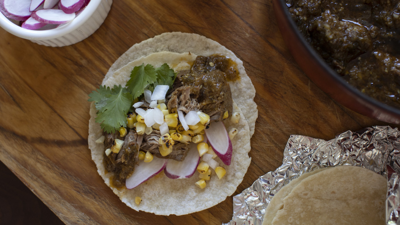 Tacos made with chile verde braised pork