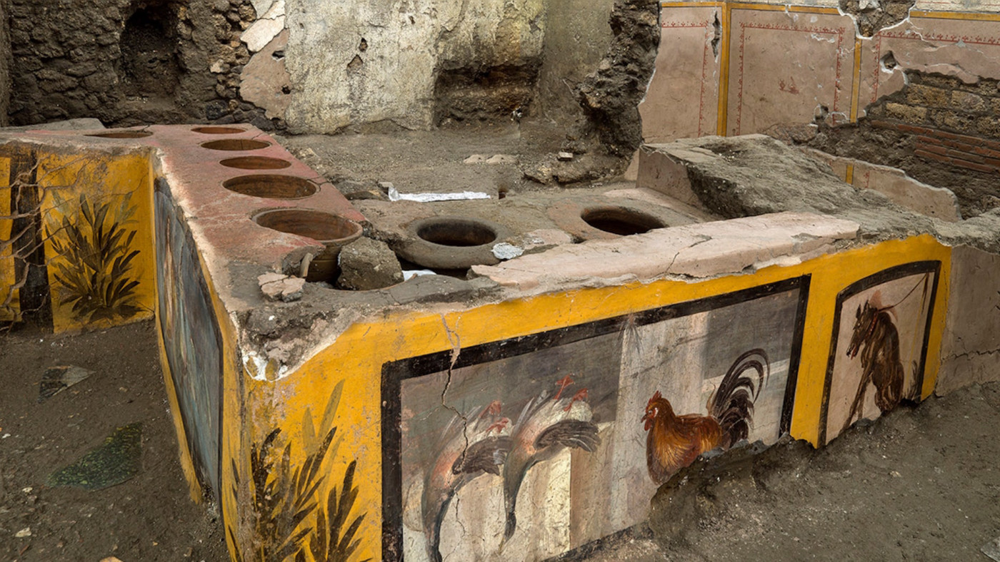 Pompeii Archeological park press office shows the thermopolium