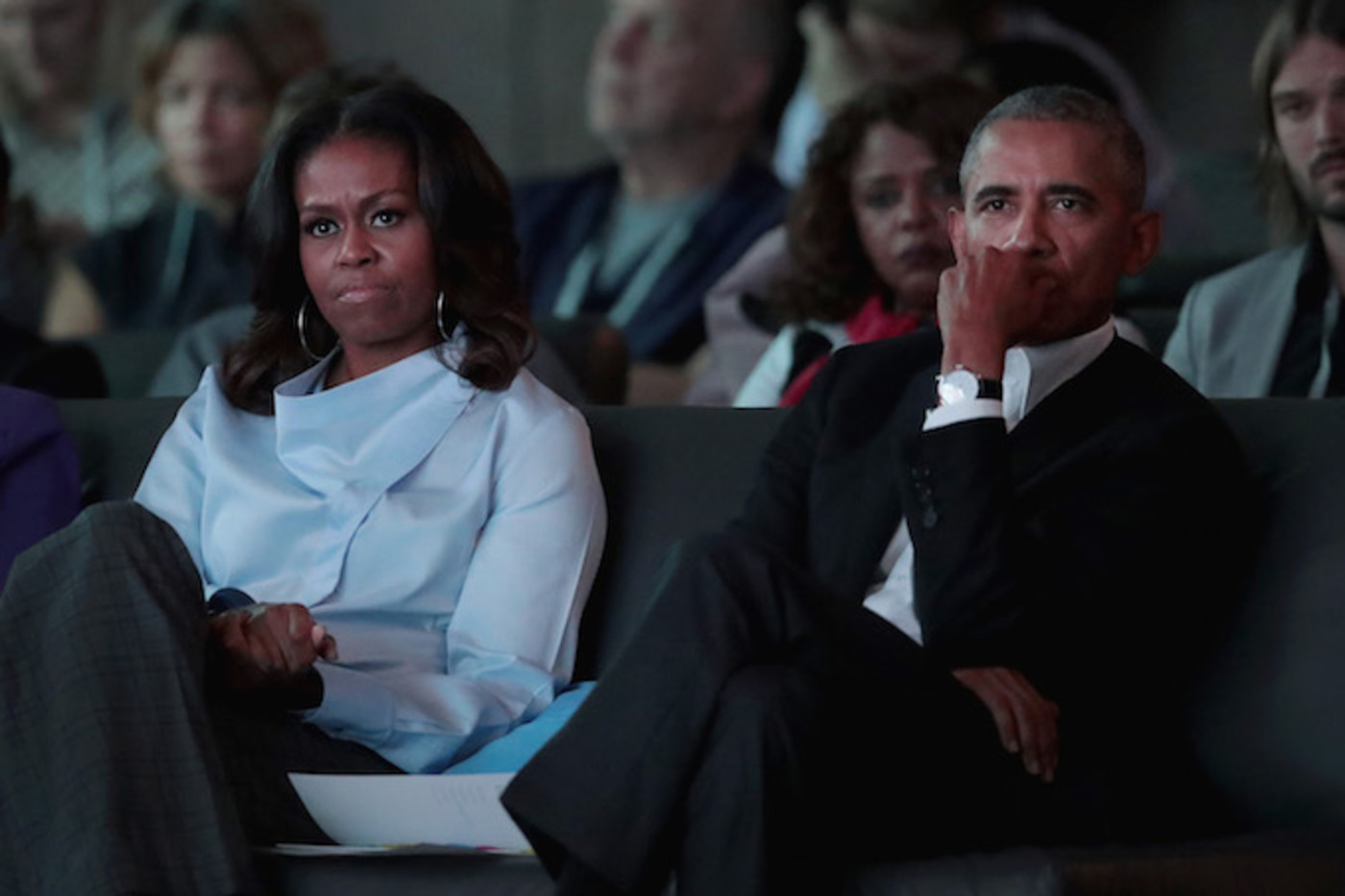 The Obamas Sitting During Conference