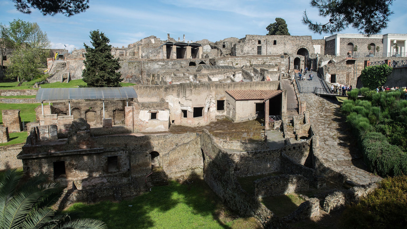 General view of the archaeological site on April 12, 2014 in Pompei, Italy.