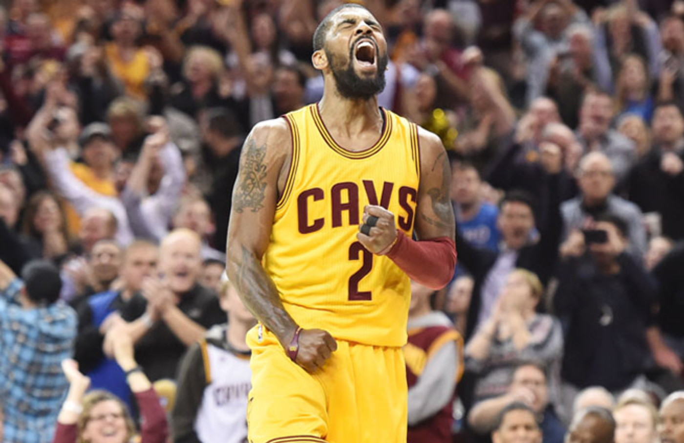 Kyrie Irving reacts after a play against the Wizards.