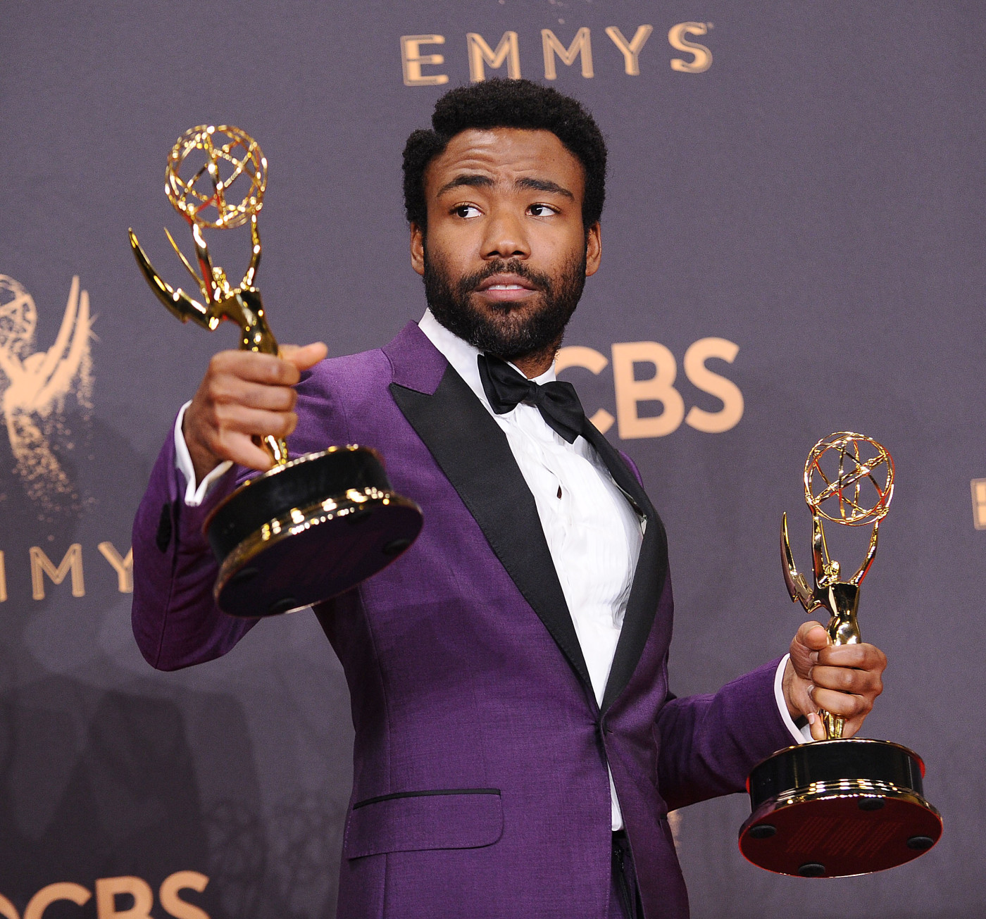 Donald Glover poses in the press room at the 69th annual Primetime Emmy Awards