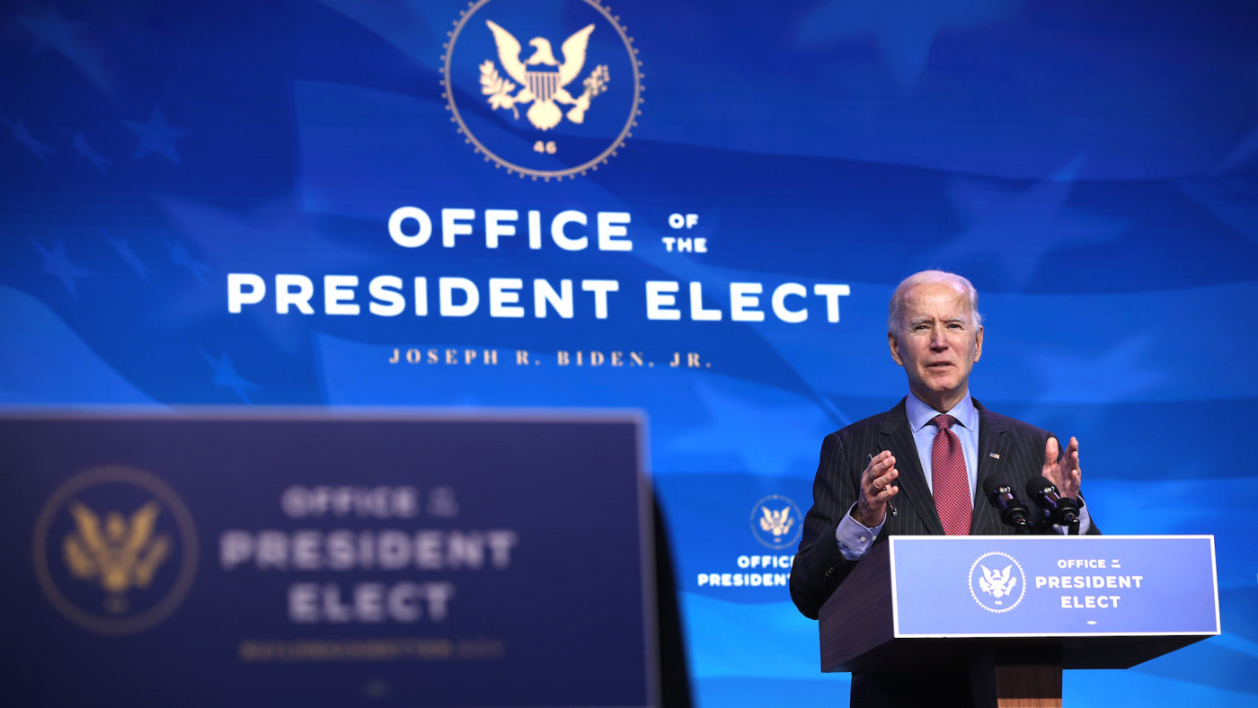U.S. President-elect Joe Biden delivers remarks after he announced cabinet nominees