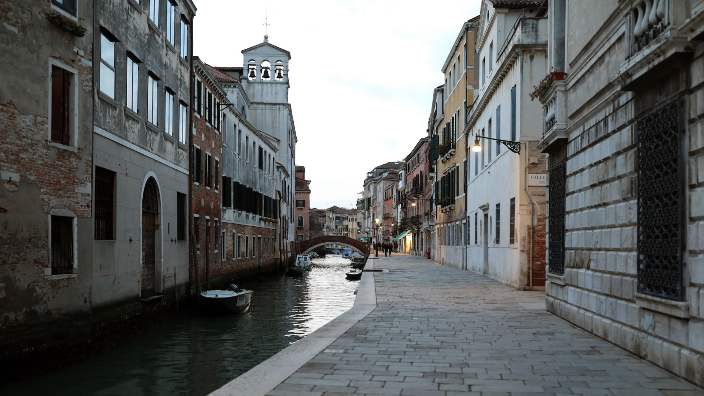 A completely empty fondamenta della Misericordia is seen on March 9, 2020 in Venice, Italy.