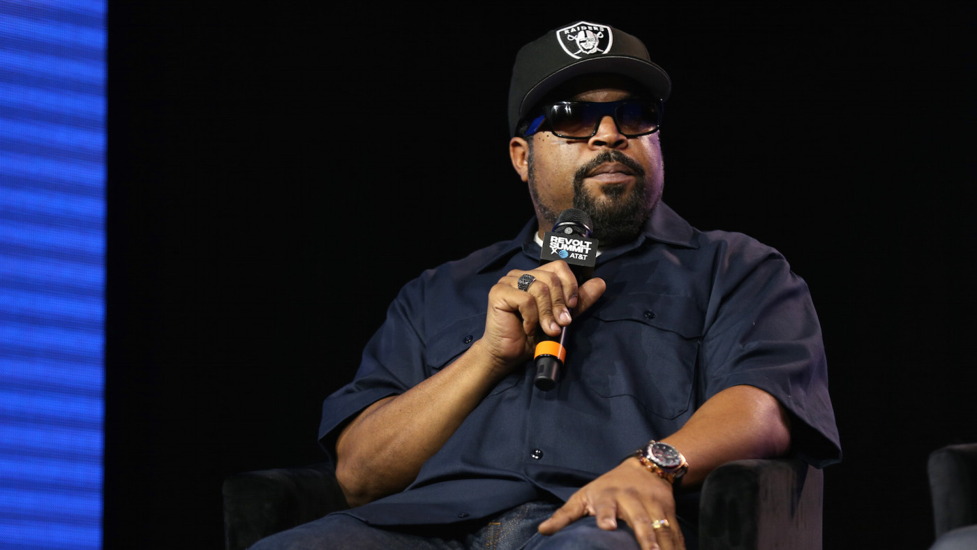 Ice Cube speaks onstage during the REVOLT X AT&T Host REVOLT Summit
