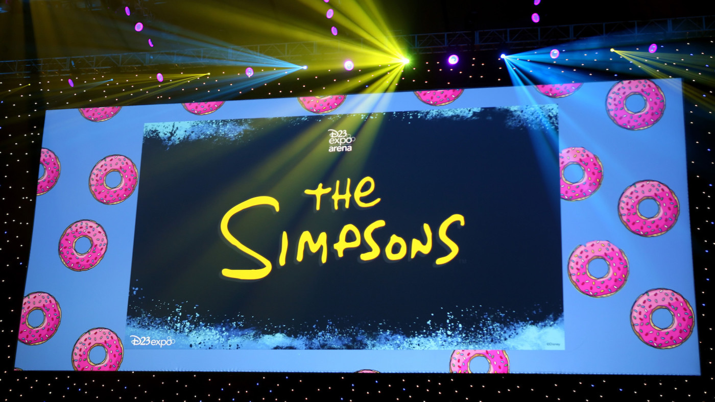 A view of the screen at The Simpsons! panel during the 2019 D23 Expo.