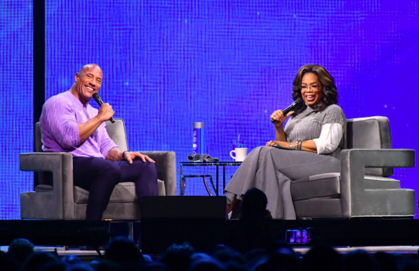 Dwayne Johnson and Oprah Winfrey onstage