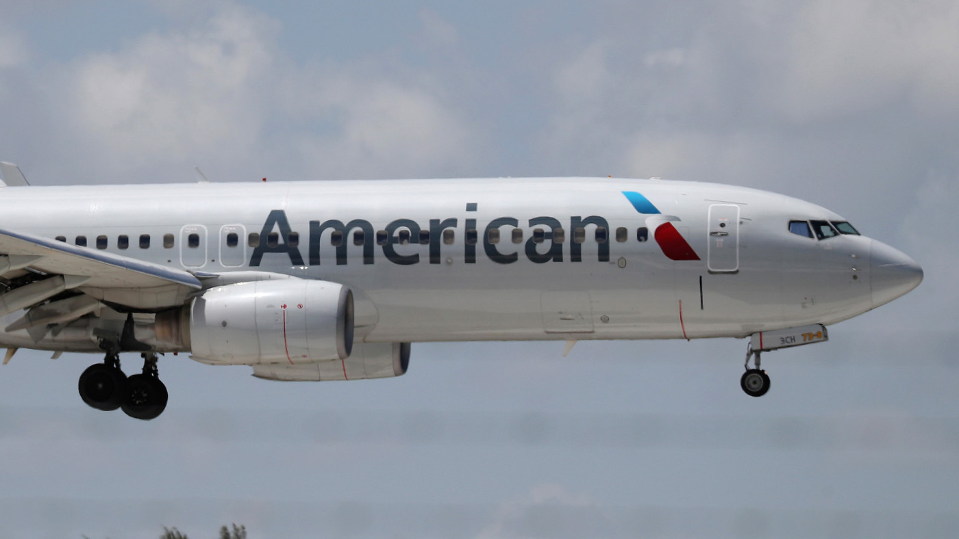An American Airlines plane prepares to land
