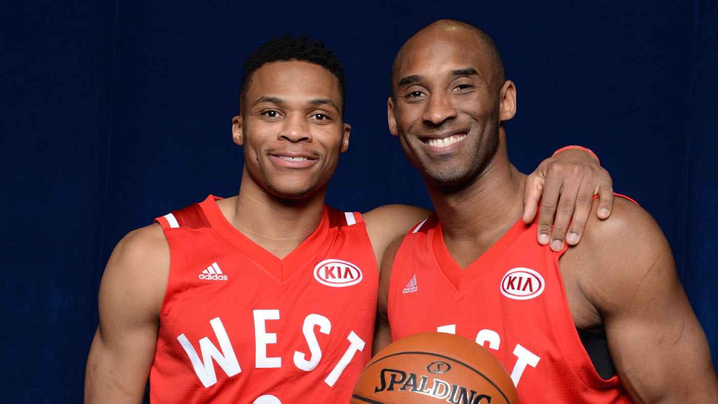 Russell Westbrook #0 and Kobe Bryant #24