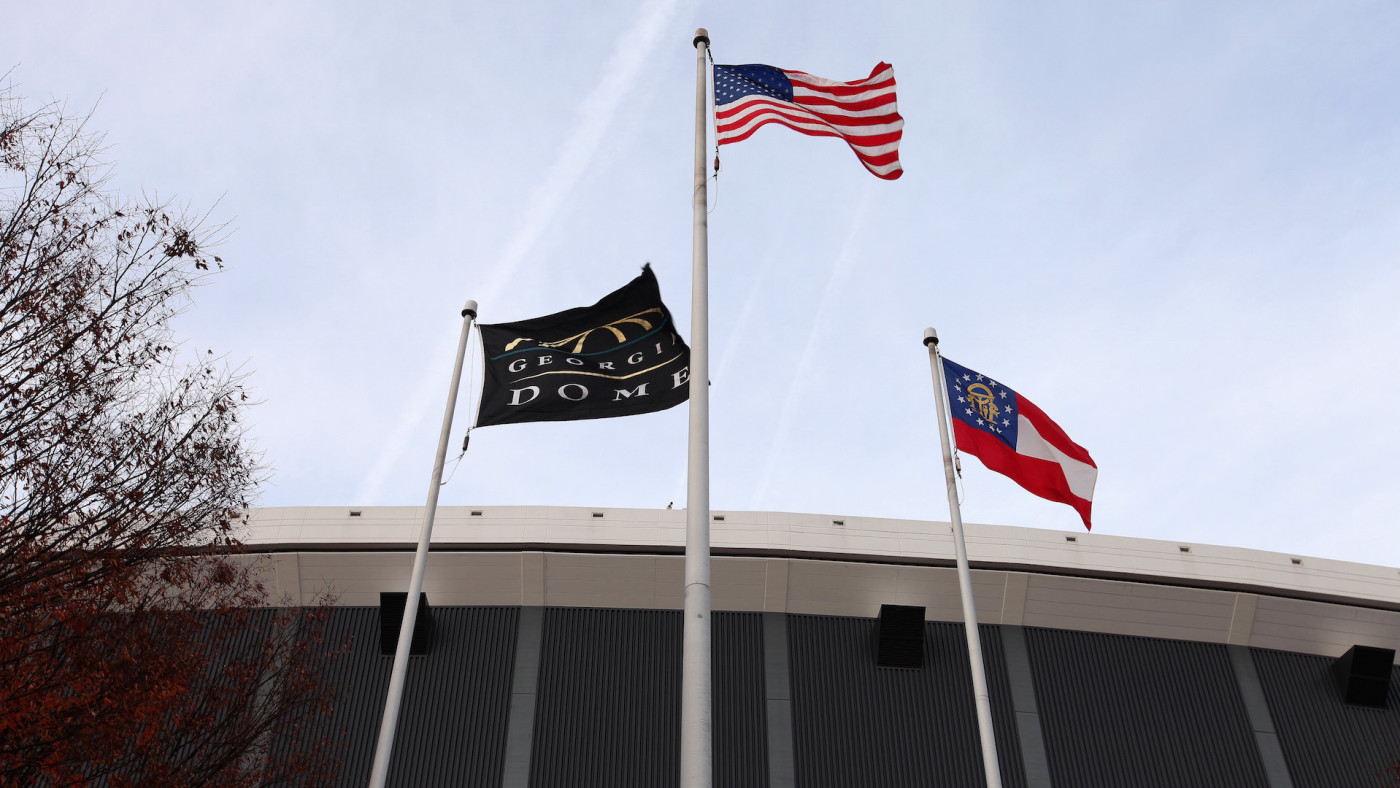 Georgia Dome Flag, American Flag and the Georgia State Flag
