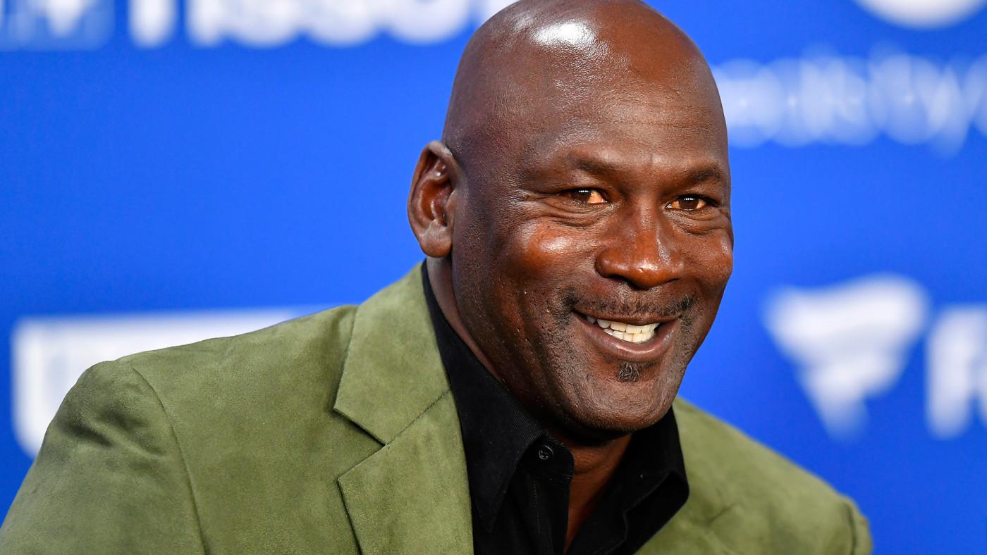 It's Michael Jordan. He's smilin'.