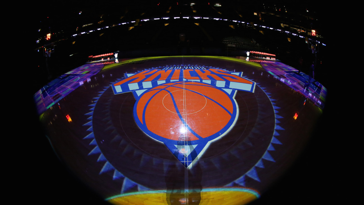 A general view of the New York Knicks logo
