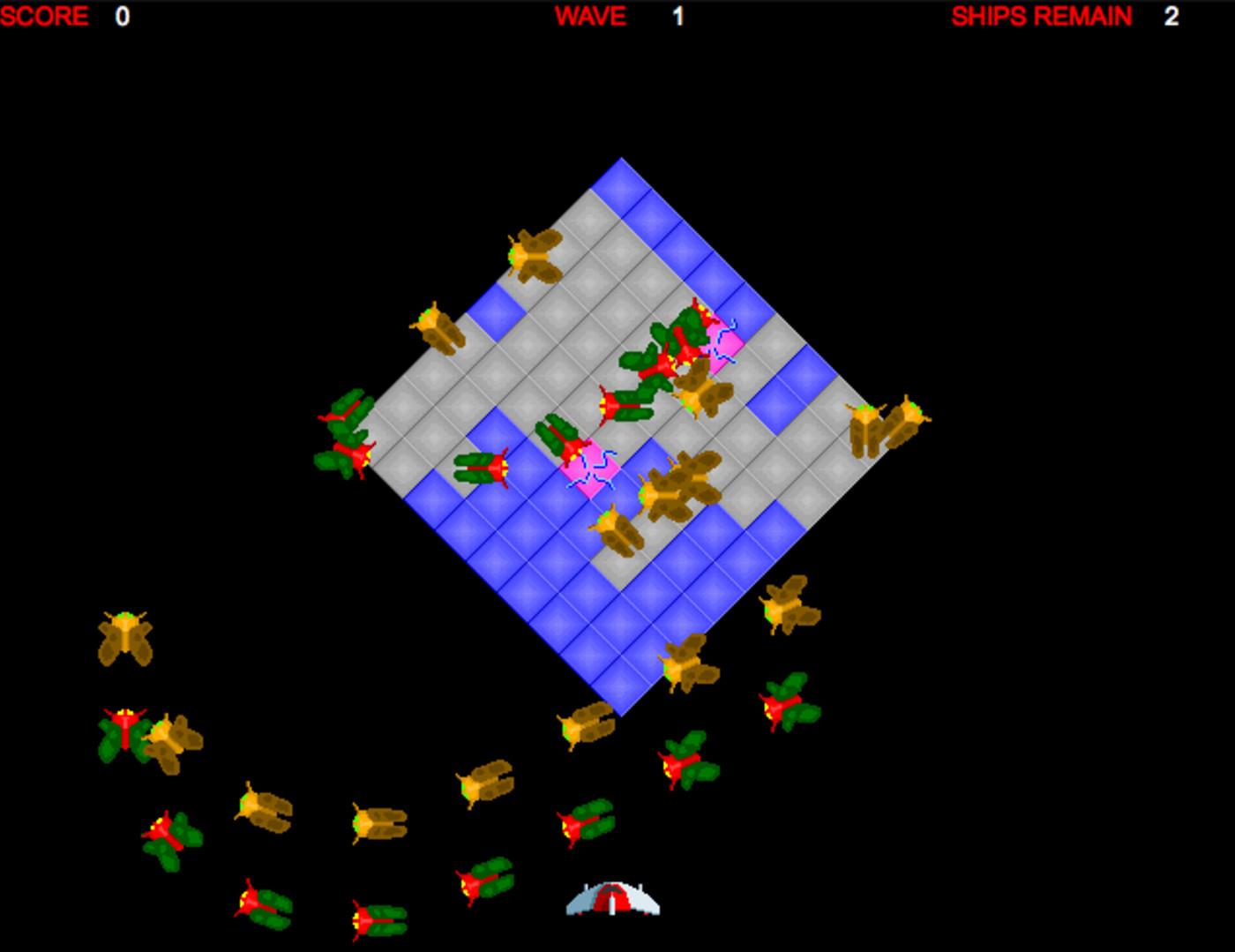 Screenshot of Swarm arcade game