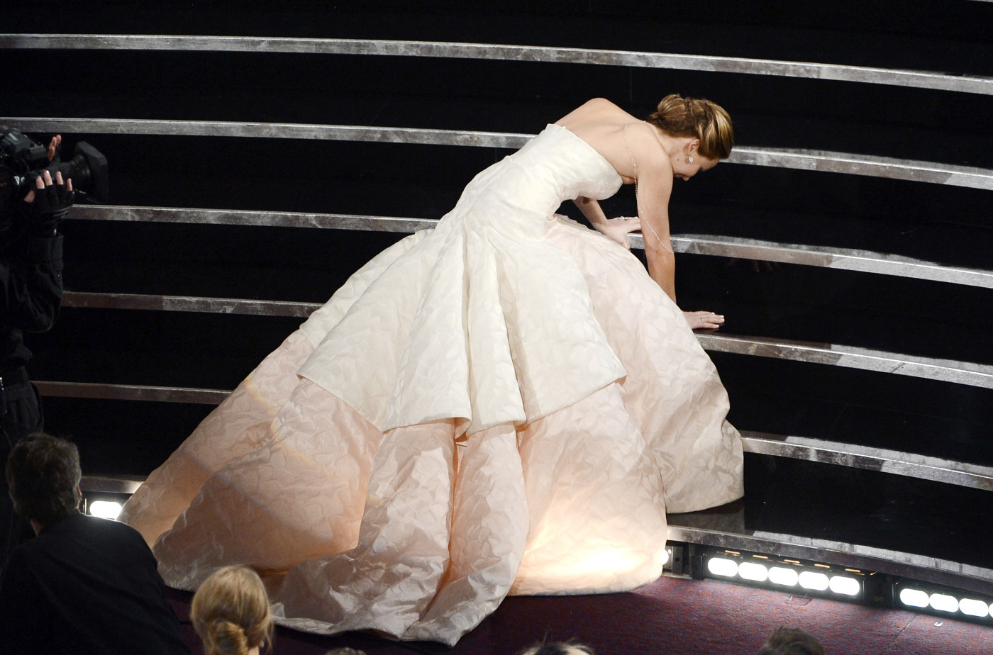 Jennifer Lawrence falls at the Oscars after winning Best Actress for 'Silver Linings Playbook'
