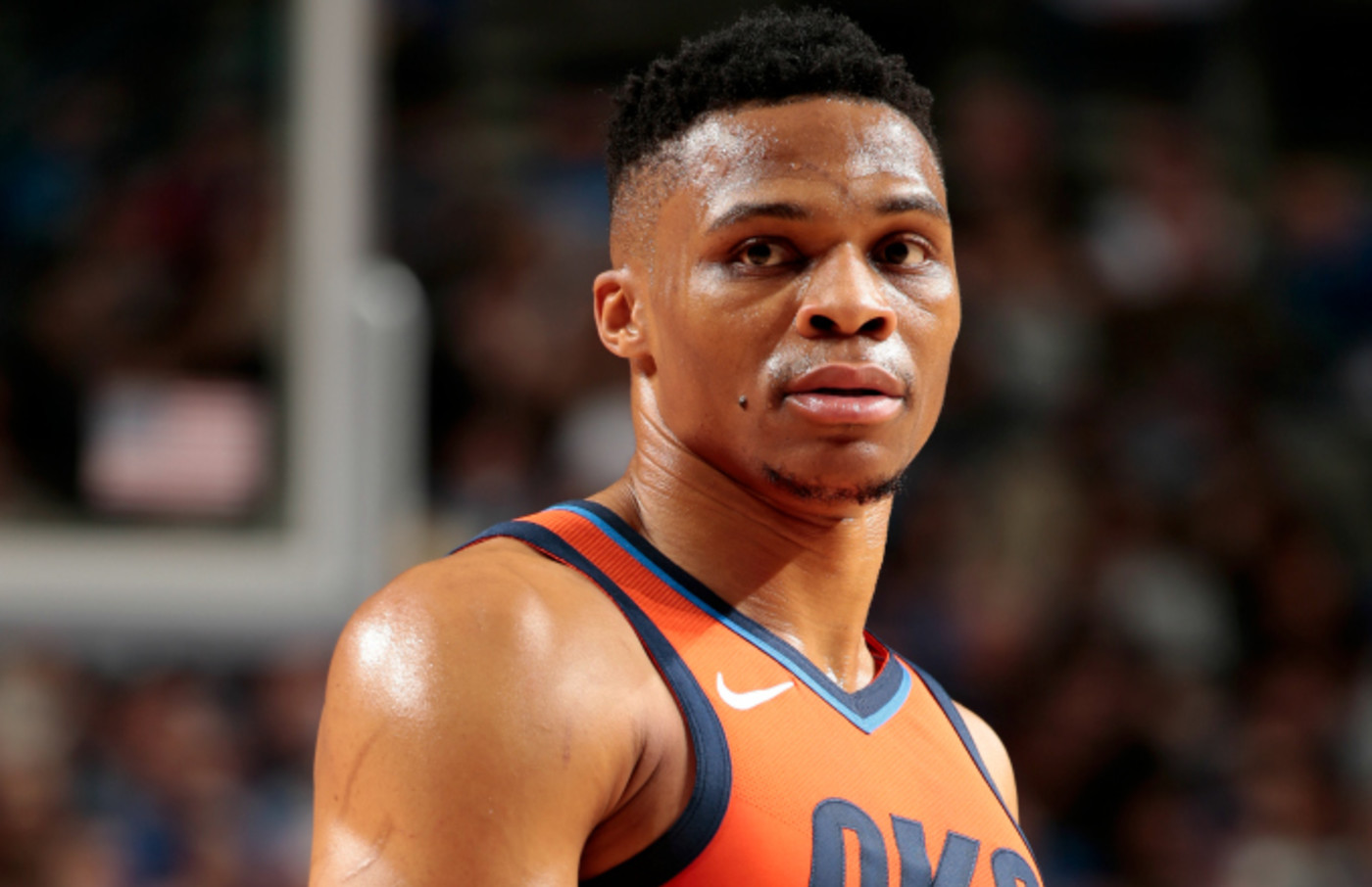 Russell Westbrook #0 of the Oklahoma City Thunder looks on during the game
