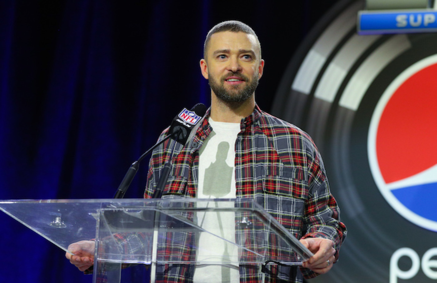 Justin Timberlak at a SuperBowl LII Pepsi Halftime Show Press Conference.