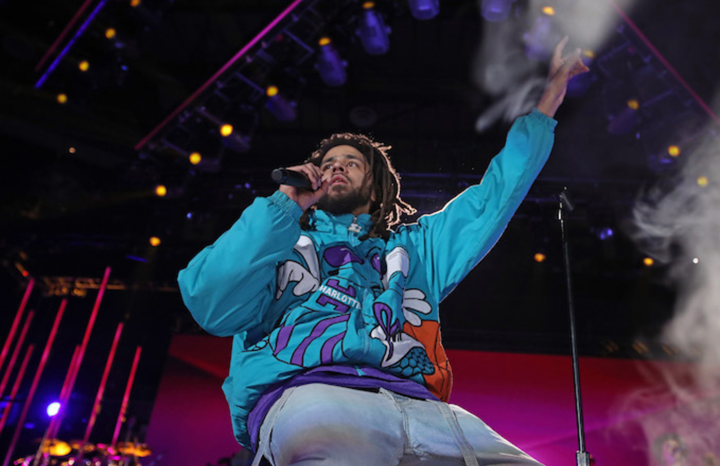 J. Cole performs during the 2019 NBA All-Star Game.
