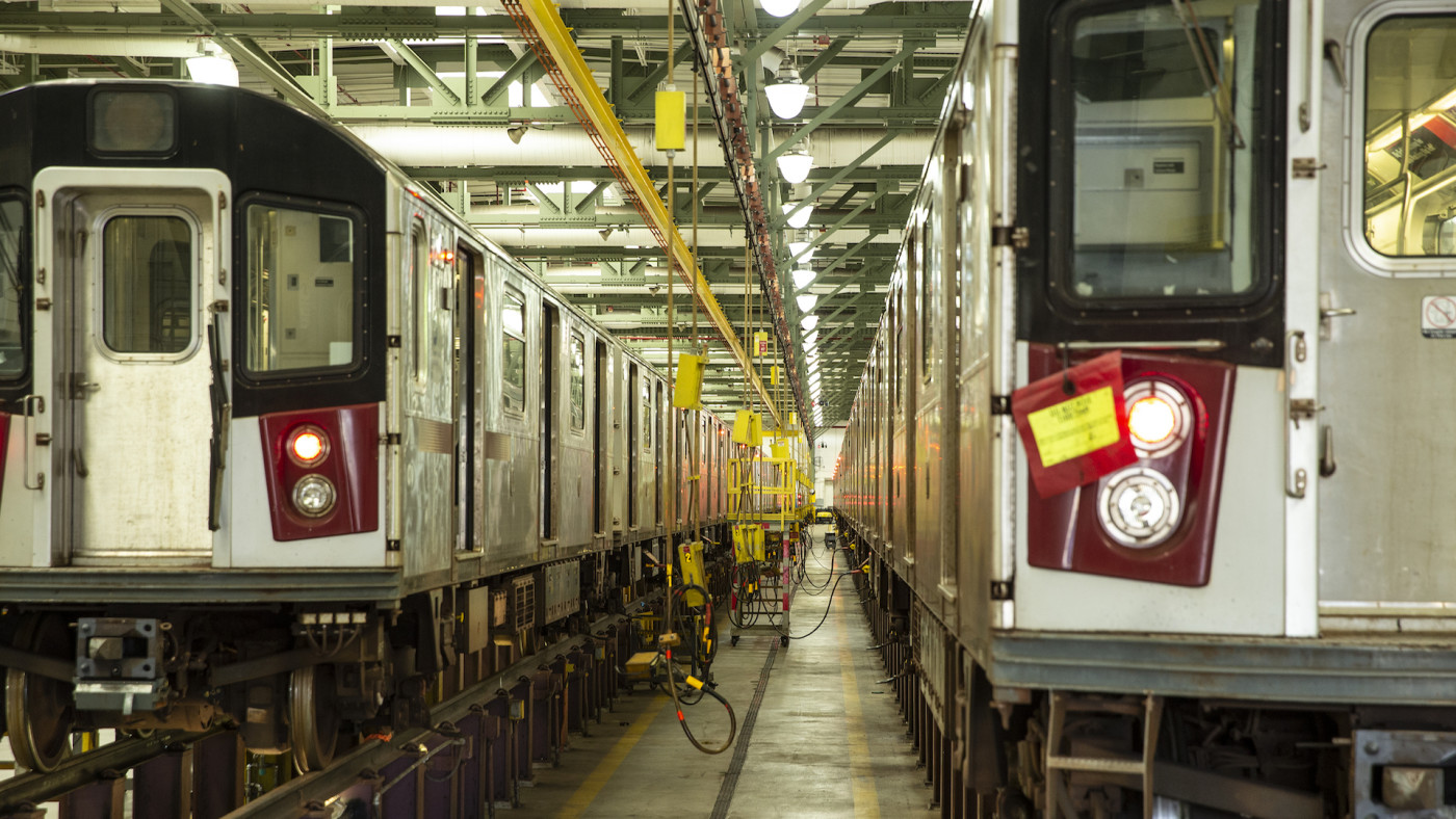 MTA New York City Transit Corona Maintenance Facility in Queens during COVID-19 pandemic.