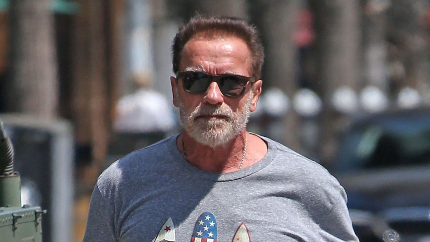 Arnold Schwarzenegger out for a drive in his Hummer