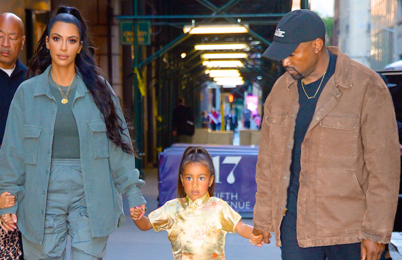 Kim Kardashian, Kanye West, and North