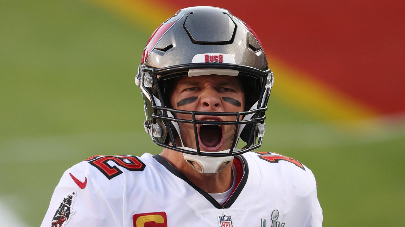 Tom Brady takes the field prior to facing the Kansas City Chiefs in Super Bowl LV.