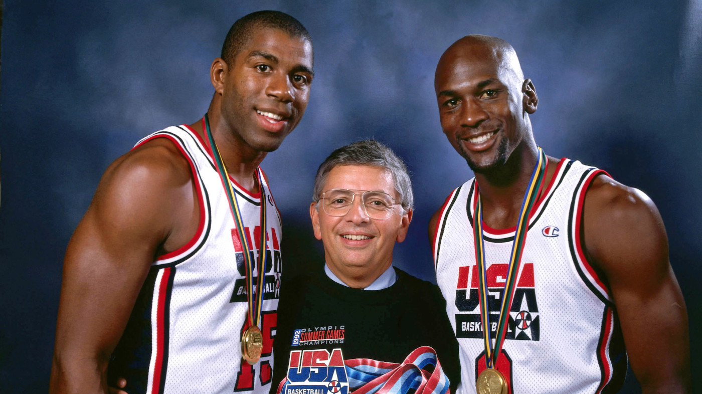 Magic Johnson, NBA Commissioner David Stern and Michael Jordan