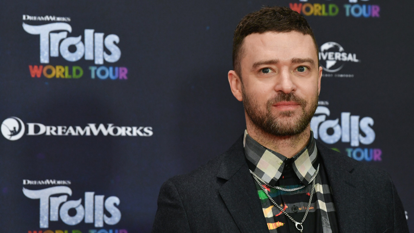 "Justin Timberlake, actor and musician, is at the photo shoot for the movie ""Trolls World Tour"""