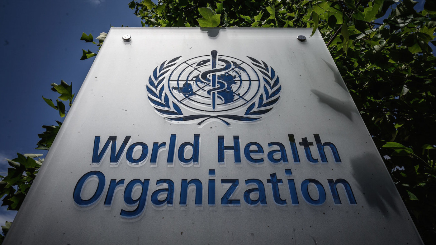 Sign of the World Health Organization (WHO)