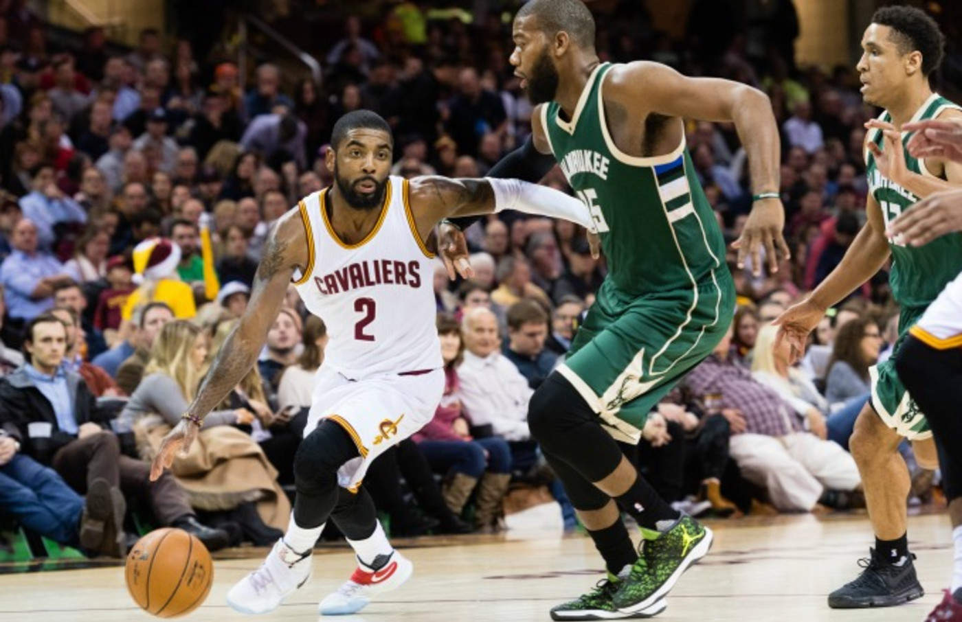Kyrie Irving plays in a game against the Bucks.