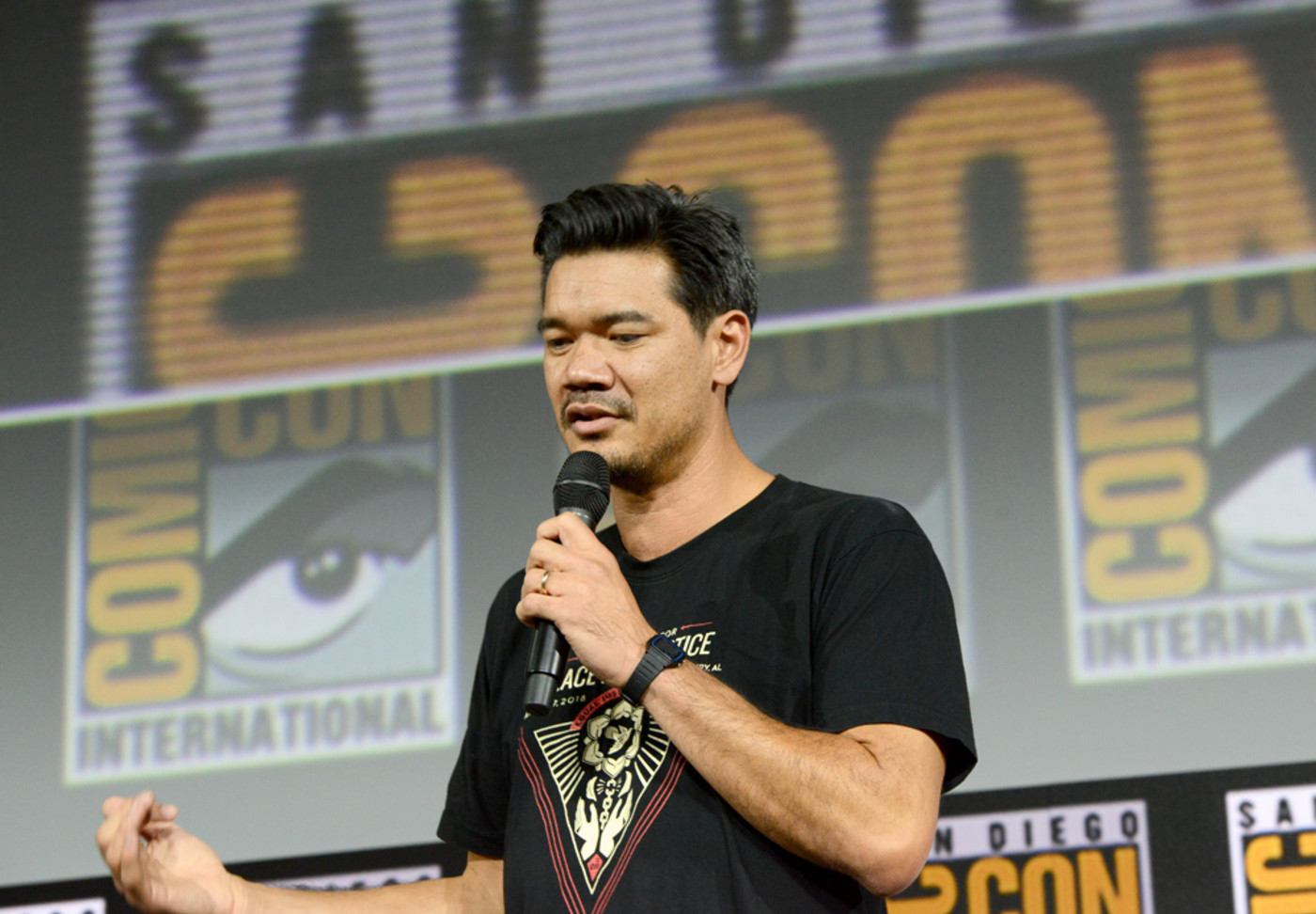 Destin Daniel Cretton speaks the Marvel Studios Panel during 2019 Comic-Con