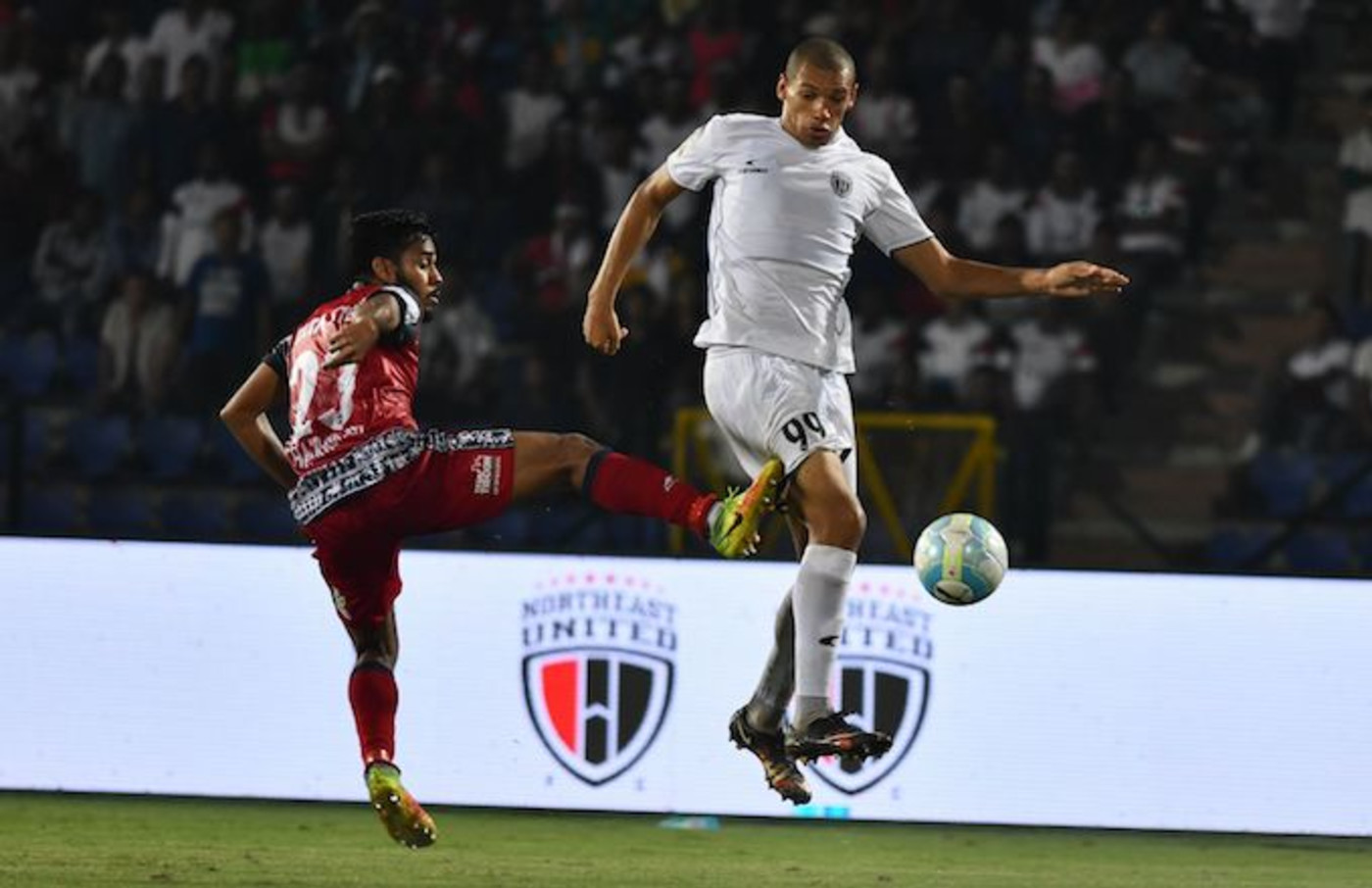 Indian Super League soccer team Jamshedpur goes against Northeast United FC