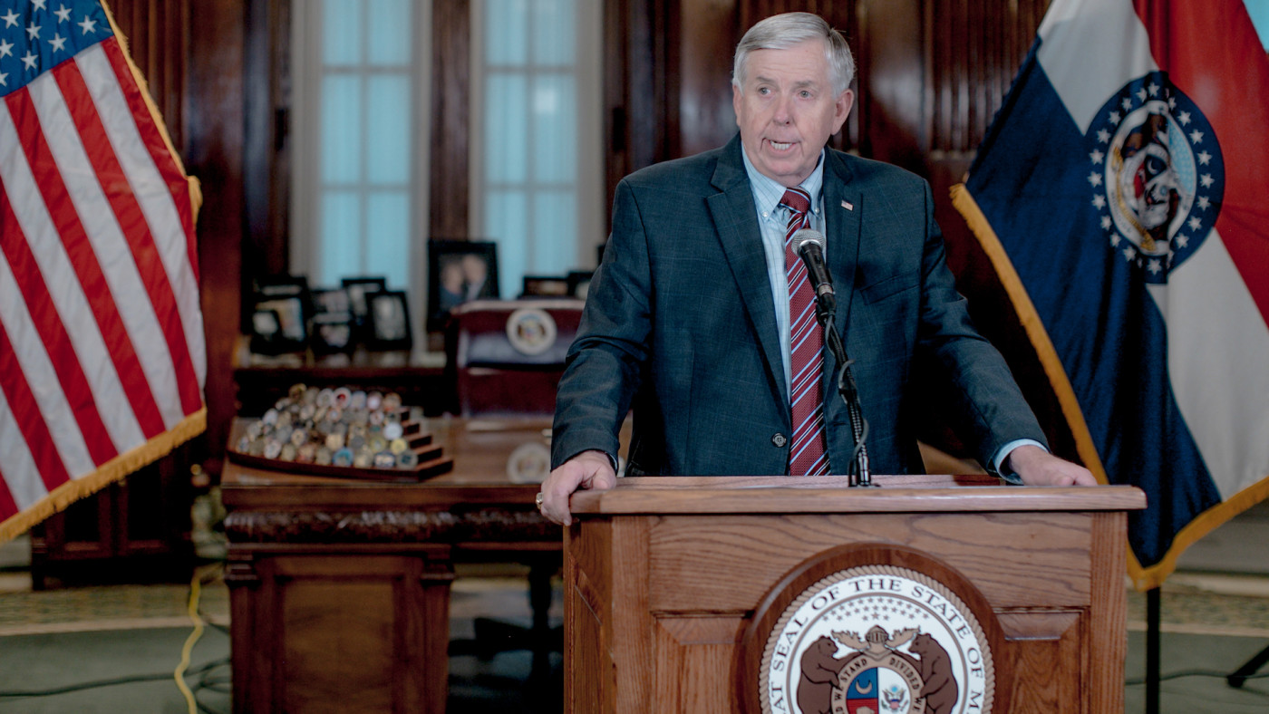Missouri Gov. Mike Parson speaks during a press conference.