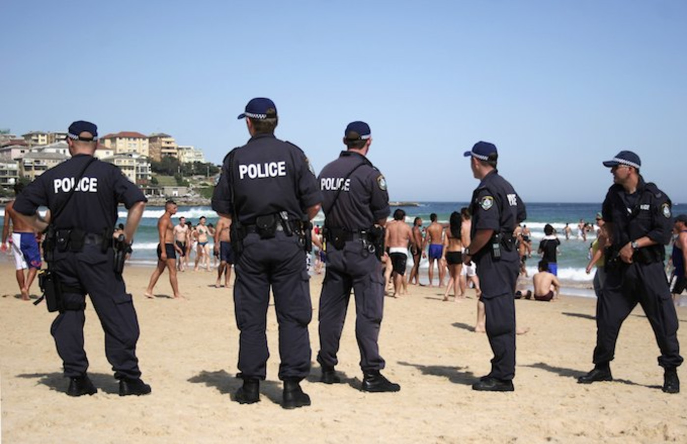 Police on the beach in Bondi Beach, Australia.