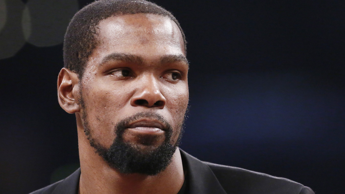 Kevin Durant looks on during a game at the Staples Center.