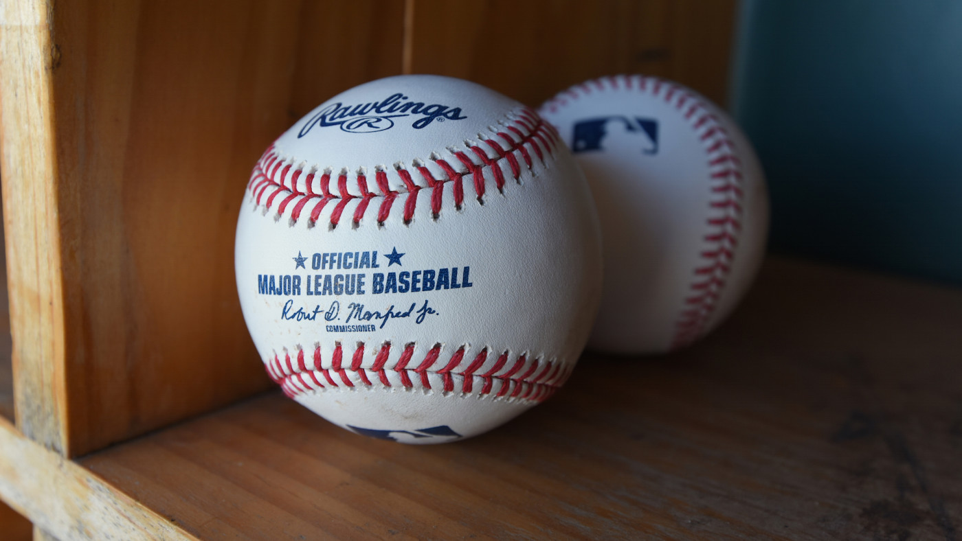 A detailed view of a pair of official Rawlings Major League Baseball