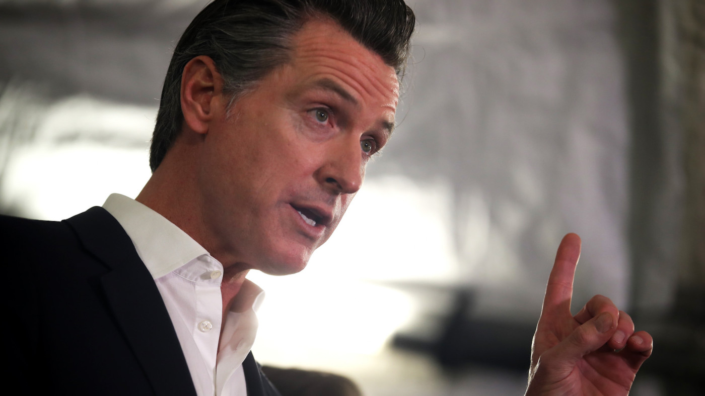 Gavin Newsom speaks during news conference about state's efforts on homelessness crisis.