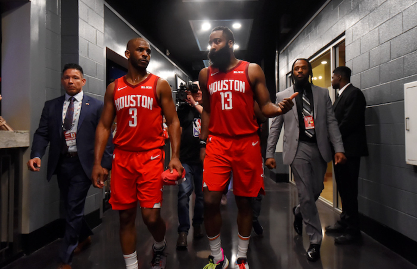 Chris Paul and James Harden heading to locker room after Western Conference Semifinals Game 4.
