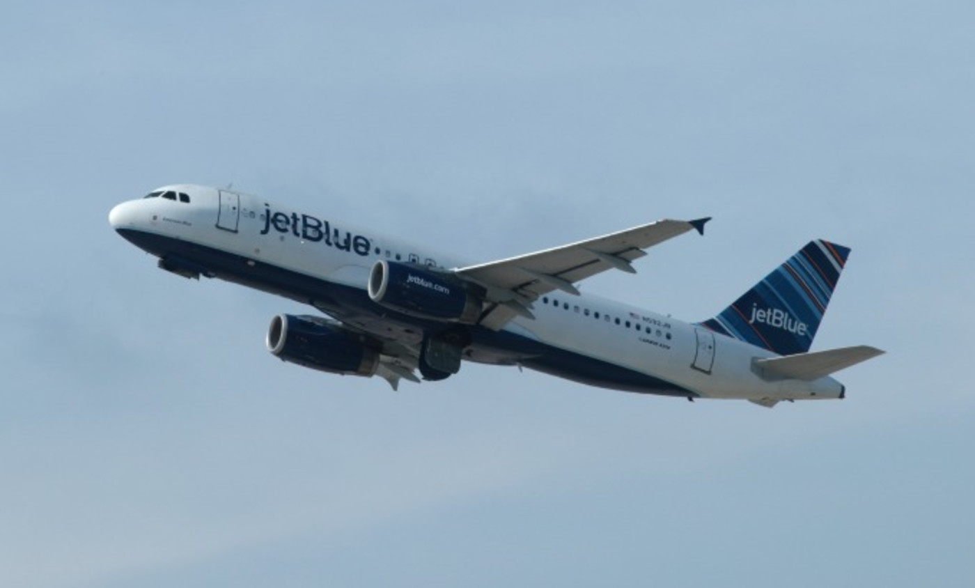 A jetBlue Airways airplane takes off from Newark Liberty Airport
