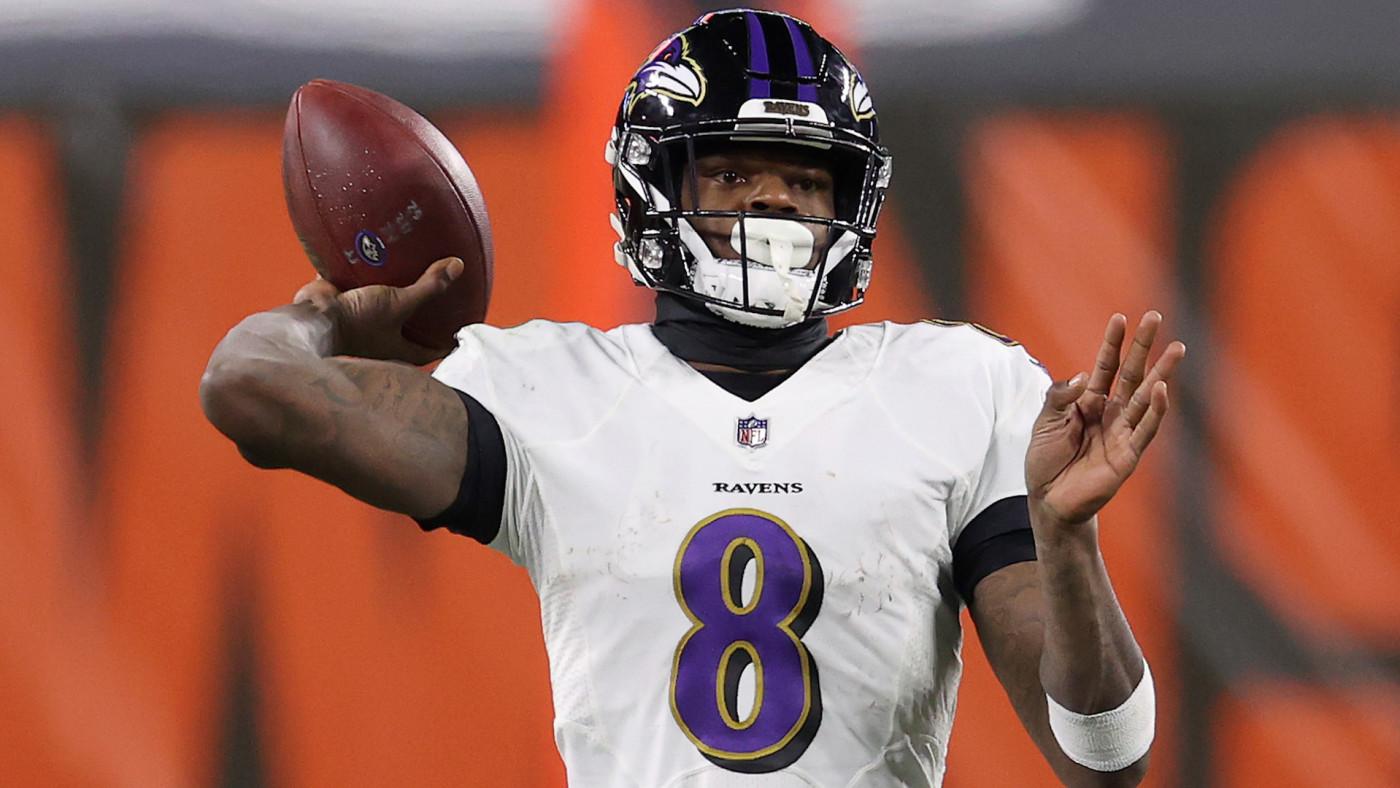 Lamar Jackson #8 of the Baltimore Ravens attempts a pass